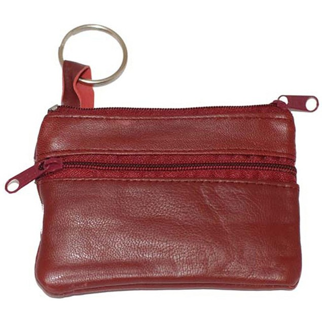 AFONiE Luxurious Leather Change Purse w/ Key Ring