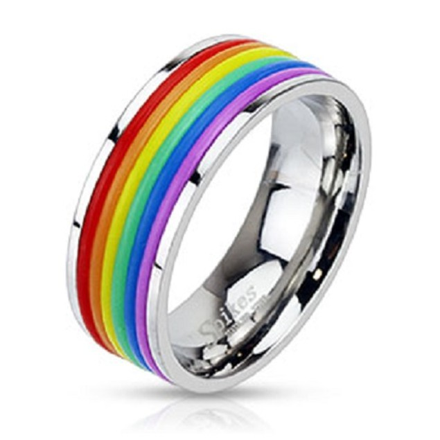 Rainbow Rubber Striped Band Stainless Steel Ring