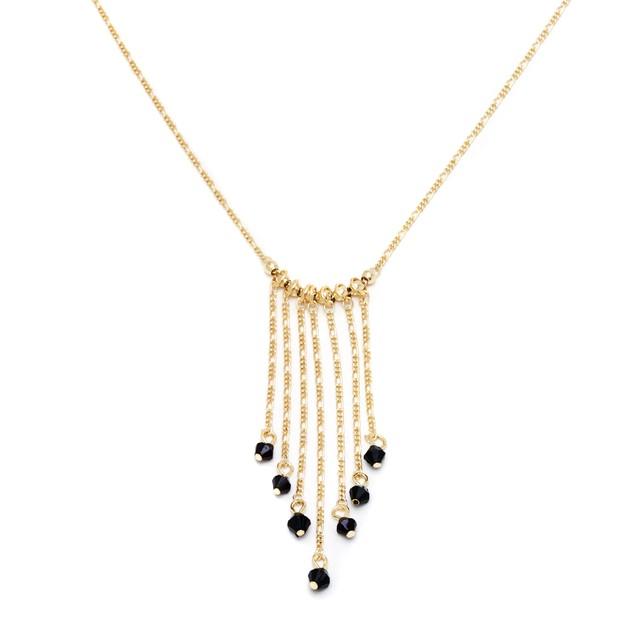 Gold & Black Crystal Drop Necklace