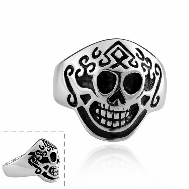 Aztec Stainless Steel Skull Ring