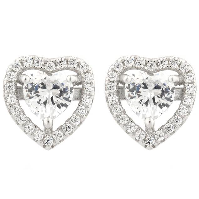 Sterling Silver Simulated Diamond Halo Set Heart Shaped Earrings