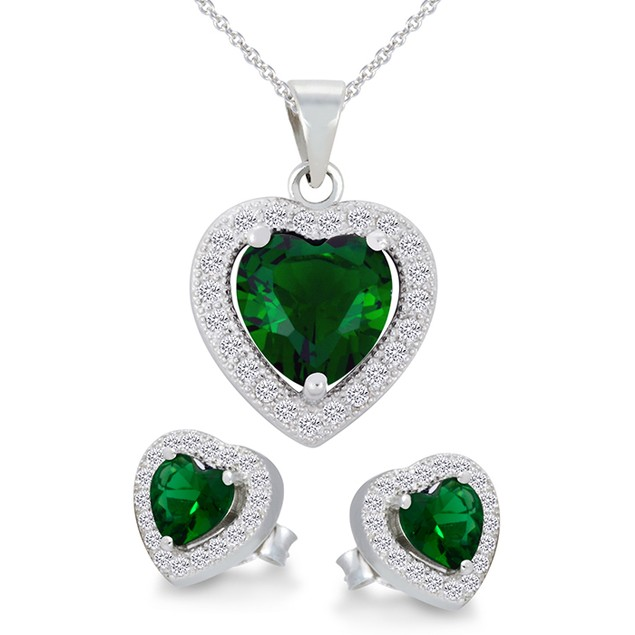 Sterling Silver Green Simulated Diamond Heart Shaped Necklace & Earrings Set