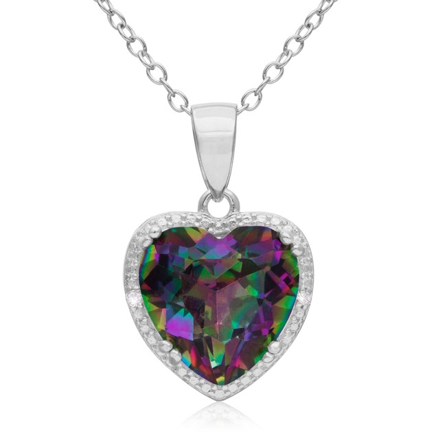3 Carat Mystic Topaz and Diamond Heart Necklace