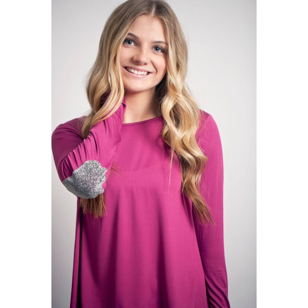 Long Sleeve Shirt with Sparkle Elbow Patches