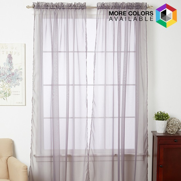 "4-Piece Sheer Panel with 2"" Rod Pocket"