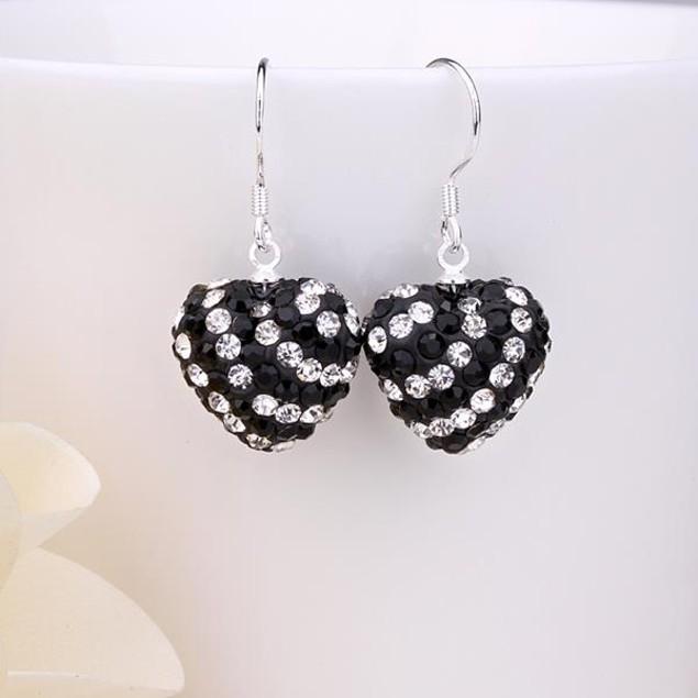Two Toned Austrian Stone Hearts Drop Earrings -Onyx