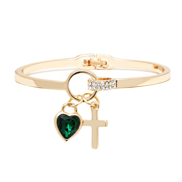 Gold Plated Emerald Crystal Elements Heart Cross Cuff