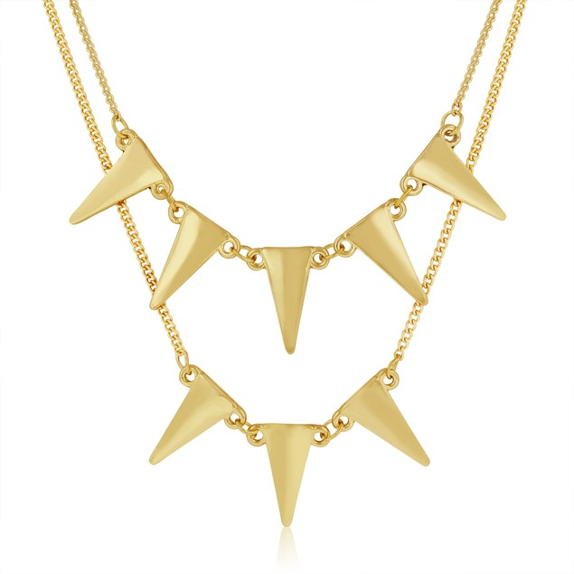 Gold Plated Double Layer Spike Necklace