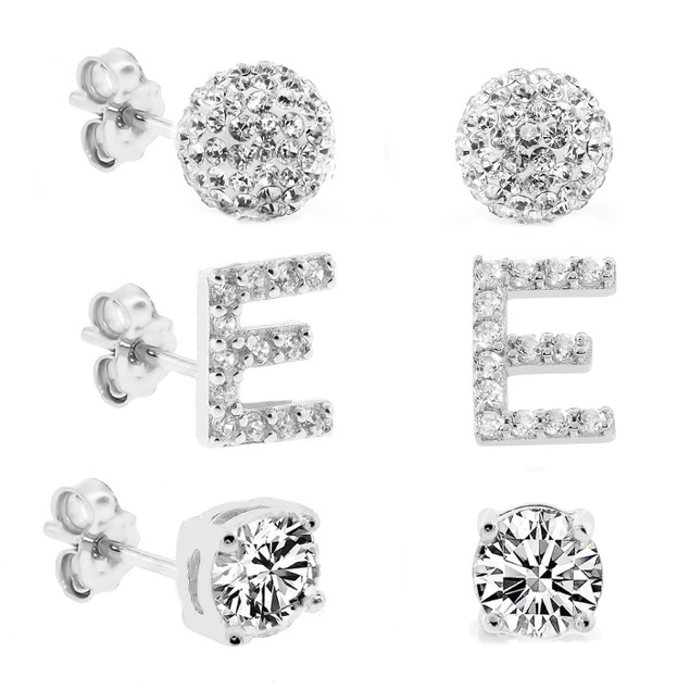 3-Piece Set: Initial Stud Earrings with Swarovski Elements - E