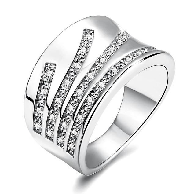 White Gold Plated Five Jewels Line Ring