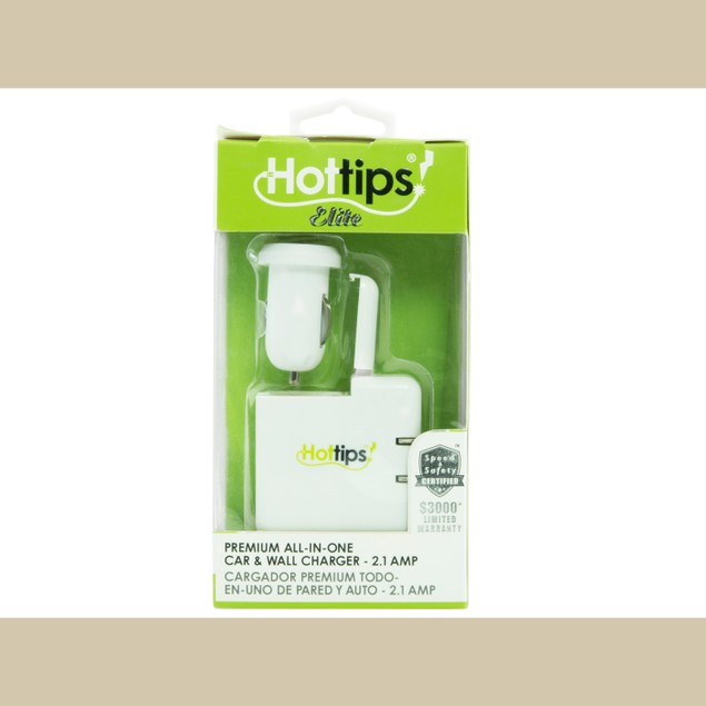 Hottips Elite Premium All-In-One 2.1A Car & Wall Charger