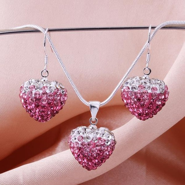 Austrian Stone Multi-Pave Heart Earring and Necklace Set - Pink Fusion