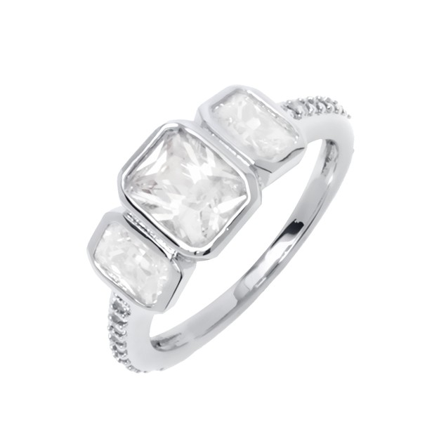 White Gold Plated CZ Triple Stone Ring
