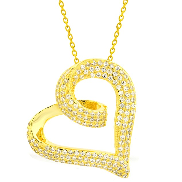 18K Gold Over Sterling Silver Simulated Diamond Pave Looped Heart