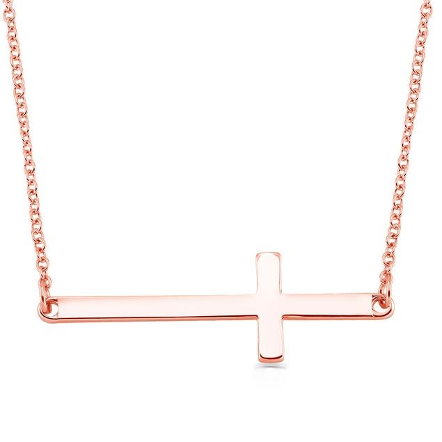 Sideways Cross Drop Necklace