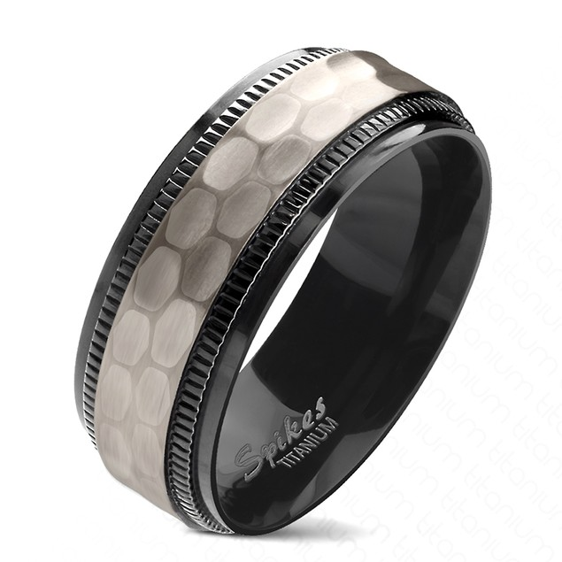 Hammered Centered Black PVD Plated 2-Tone Chiseled Step Edge Titanium Ring