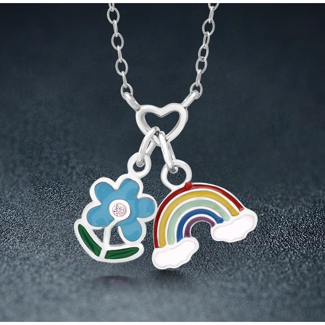 Sterling Silver Rainbow Flower Necklace