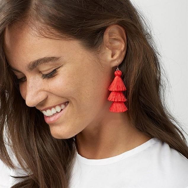 Drop Tassel Triple Earrings