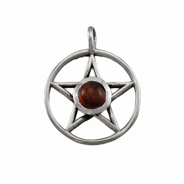 Sterling Silver Pentacle Pendant Red Stone Pagan Womens Pendants