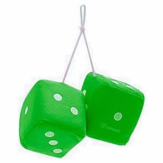 """Zone Tech Hanging Car Mirror 2.75"""" Fuzzy Plush Dice - 6 Color Options"""