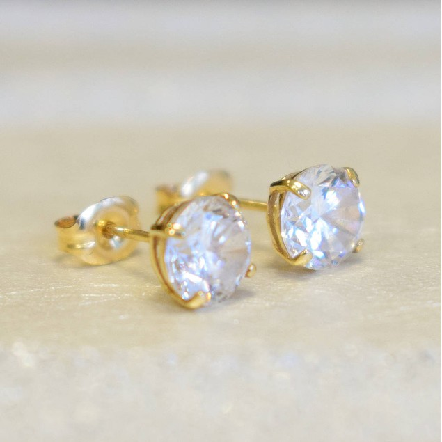 10kt Solid Yellow Gold Plated Basket Setting Round Earrings