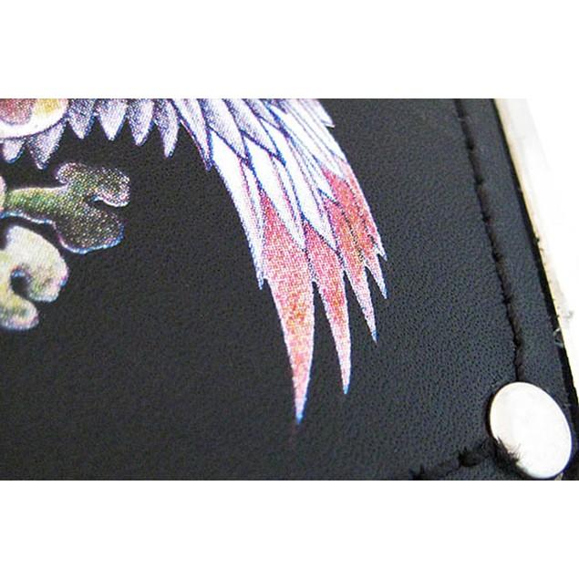 Chrome & Black Leather Tattoo Dog Eagle Belt Mens Belt Buckles