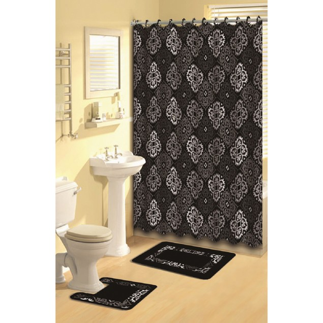 Bath Boutique 15 Piece Shower Curtain and Rugs Set