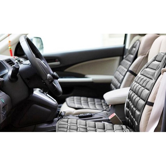 2-Pack Zone Tech 12V Heated Seat Cover Cushion Warmer