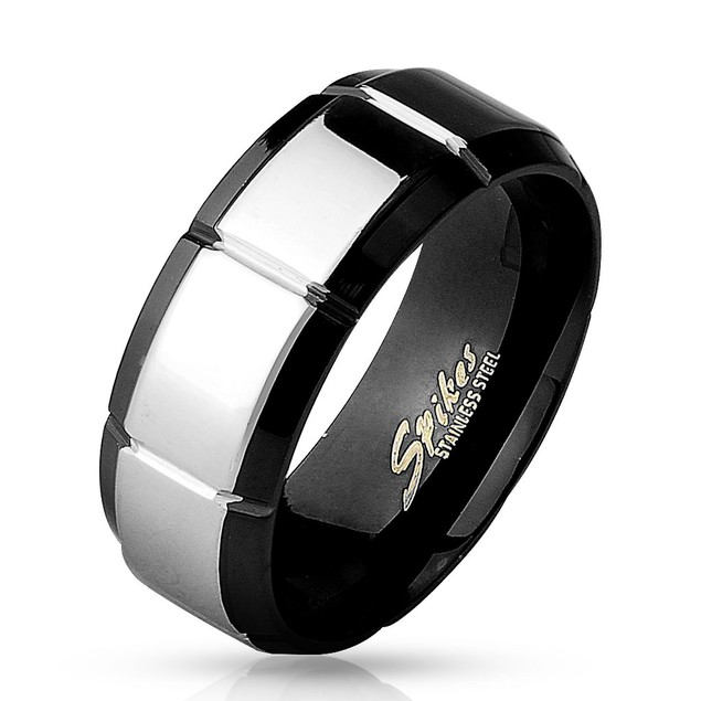 Shiny Polished Grooved Center Black IP over 316L Stainless Steel Ring