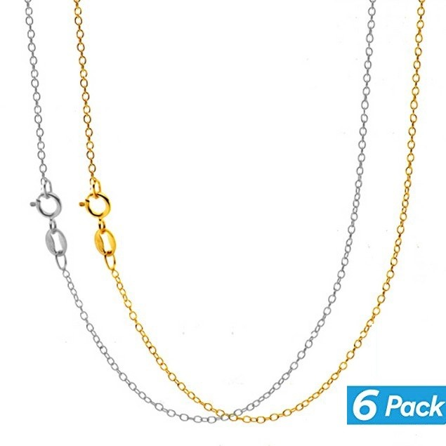 6-Pack: White & Yellow Gold Plated Chains