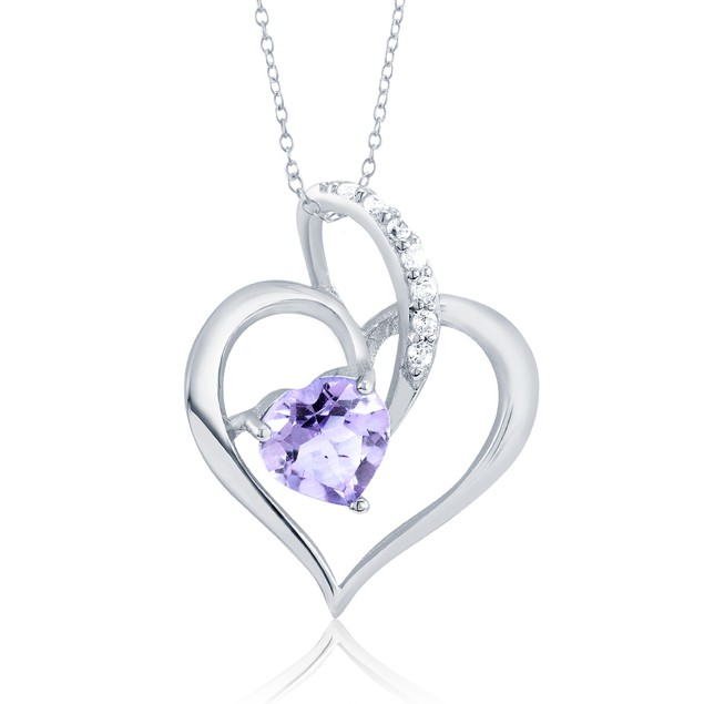 .20ct Diamond & Colored Crystal Heart Necklace