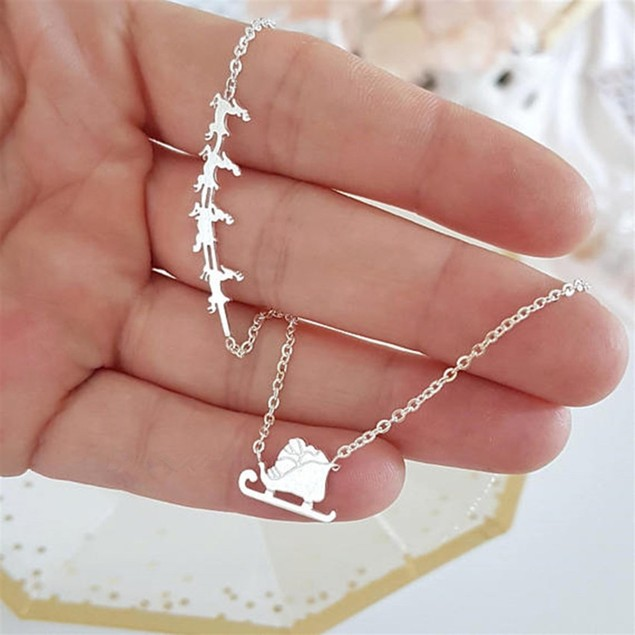 Santa Chariot & Reindeer Necklace