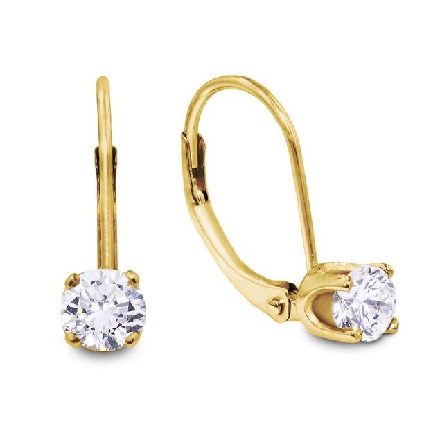 14k Yellow Gold 1/2 Carat Diamond Drop Earrings