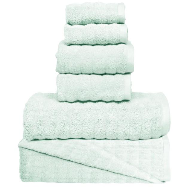6 Piece: MicroLush Wavy Reversible 100% Cotton Towel Set