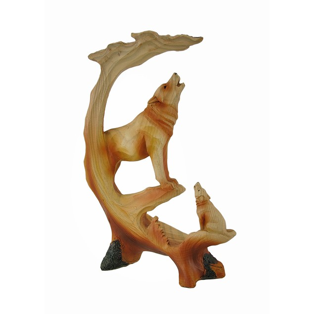 Howling Mountain Wolves Faux Wood Carving Statue Statues