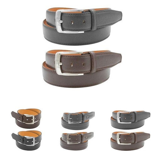 2 Pack Mens Black And Brown Genuine Leather Belts