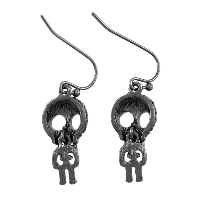 Gunmetal Big Head Skelly Dangling Skeleton Womens Earring And Necklace Sets