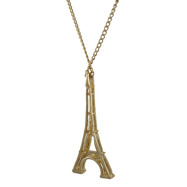 Goldtone Eiffel Tower Rhinestone Encrusted Pendant Necklaces