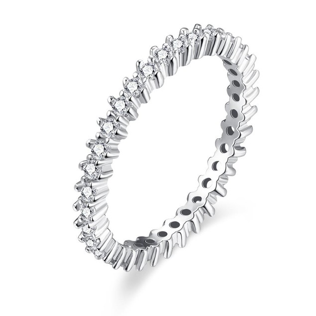 White Gold Plated Thin Jewels Ring