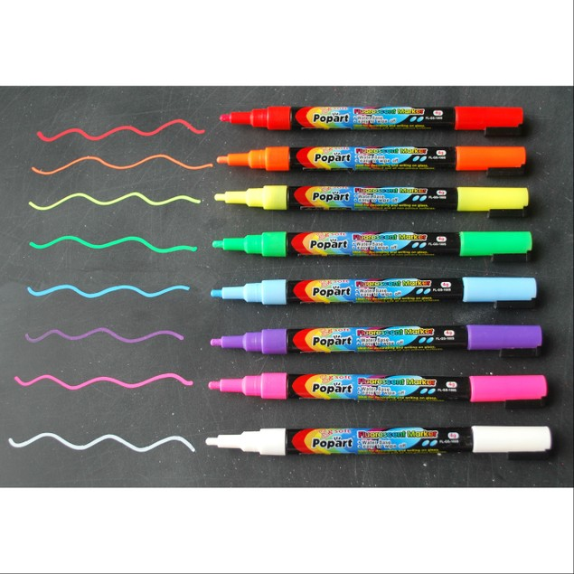 3mm Fine Tip Fluorescent Chalk Markers - Set of 8