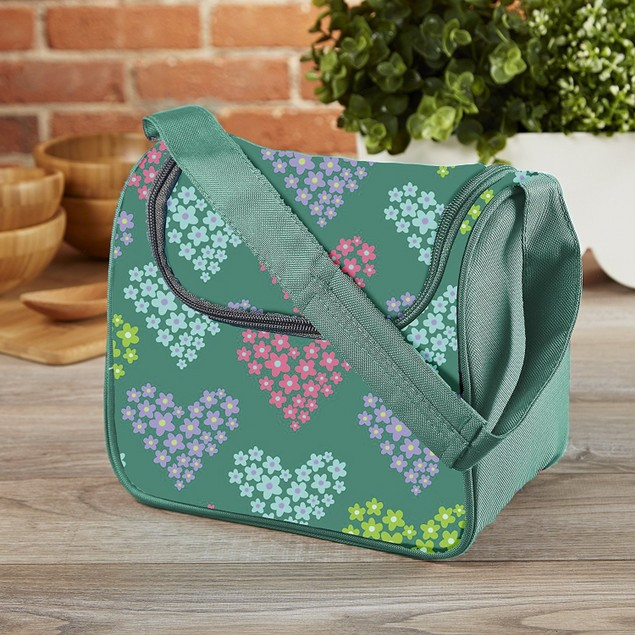 Fit & Fresh Morgan Reusable Lunch Bag, Green Heart Flowers