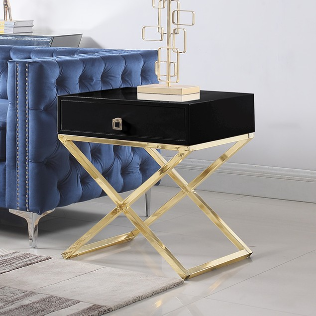 Kisco Nightstand Side Table with Self Closing Drawer Lacquer X Base