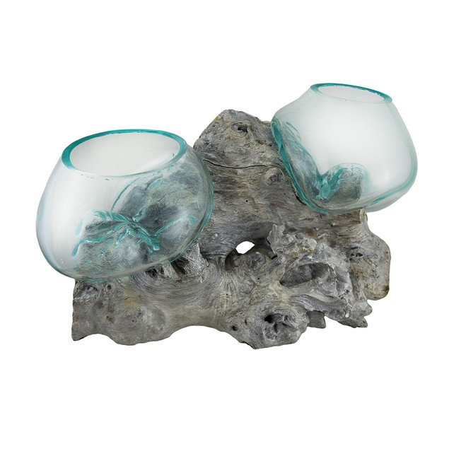 Glass On Teak Driftwood Double Molten Sculptural Decorative Vases