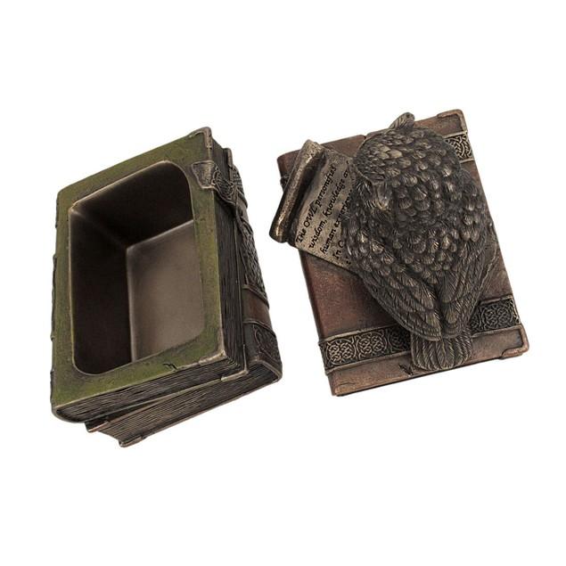 Bronzed Finish Wise Old Owl Trinket Box Decorative Boxes