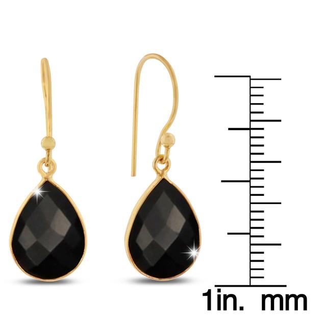 Gold Tone 12 Carat Black Onyx Pear Shape Earrings