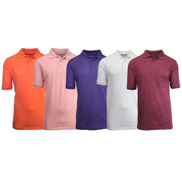 5-Pack Men's Uniform Pique Polo Shirts (S-2X)