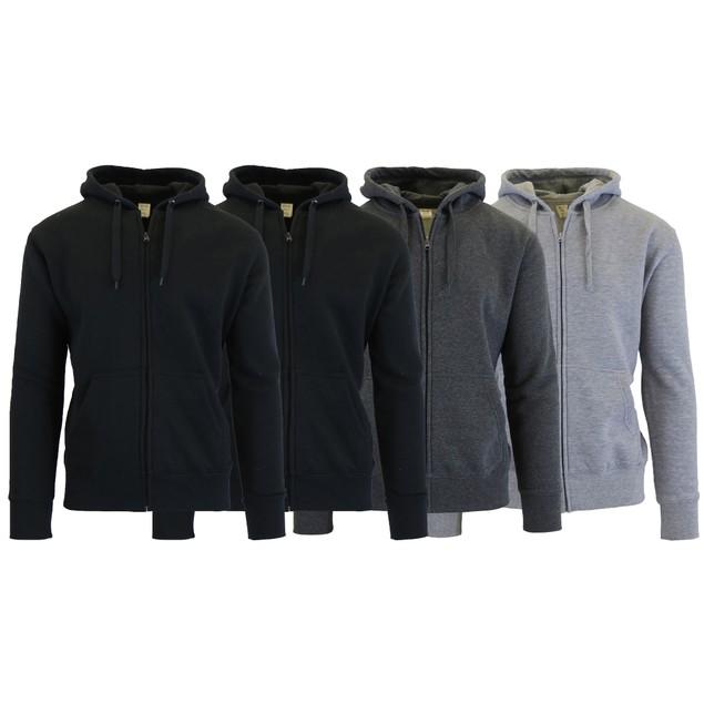 4-Pack Men's Fleece-Lined Zip Hoodie
