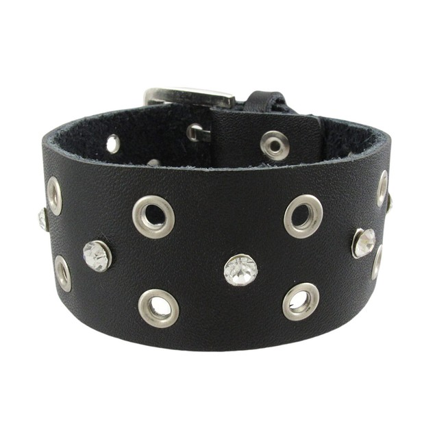 Black Leather Rhinestone Grommet Bracelet Womens Leather Bracelets