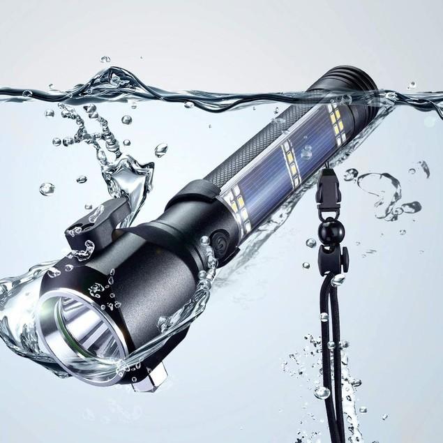 Rechargeable Aluminum Alloy Safety Hammer Solar Powered LED Flashlight