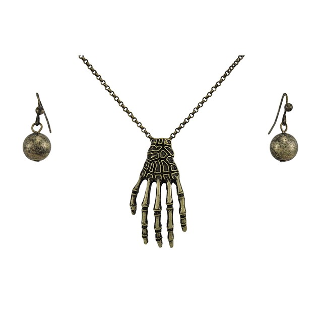 Burnished Gold Skeleton Hand And Ball Earring Set Womens Earring And